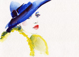 beautiful woman. fashion illustration. watercolor painting - 231173452