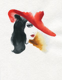 beautiful woman. fashion illustration. watercolor painting - 231173487