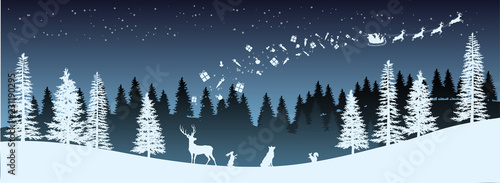 Christmas silhouette. Panorama of Santa Claus riding sleigh with deers. Winters new year landscape. Forest night scene. Holidays background