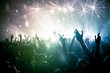 Leinwanddruck Bild - concert crowd, stars and rainbow light