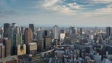 time lapse aerial view of Osaka downtown. Japan - 231200020