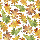 Seamless pattern with autumn yellow  leaves of oak. Hand drawn illustration with colored pencils. Botanical natural design for textiles, interior or some background. - 231212290