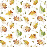 Seamless pattern with autumn yellow leaves of oak and acorns. Hand drawn illustration with colored pencils. Botanical natural design for textiles, interior or some background. - 231212684