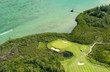 Aerial picture of golf course of l'île aux cerfs in Mauritius island