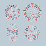 Valentine's day flat monograms gray - 231228617