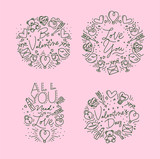 Valentine's day flat monograms pink - 231228656