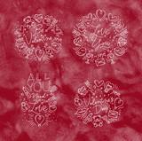 Valentine's day flat monograms red - 231228679