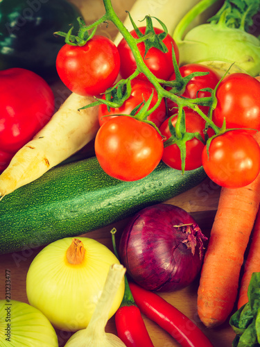 Many healthy colorful vegetables - 231233477