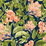 Magnolia Retro Garden Vector Repeatable Pattern