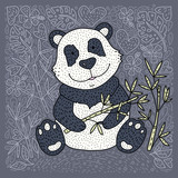 Panda bear Illustration vector with bamboo. Hand drawn cartoon card.