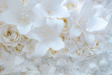 Paper flower, White roses cut from paper, Wedding decorations, Mixed wedding flower background