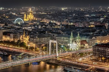 Night aerial view of the Pest side of Budapest across the Danube River in Hungary, Europe