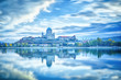 Leinwanddruck Bild - Estergom, Hungary, Europe. Basilica of the Blessed Virgin Mary. Amazing morning view over Danube river, beautiful reflections mirrored in water. Long exposure landscape. Blue color in nature.