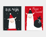 Christmas cards with cute llama and lettering. Vector hand drawn illustration. - 231244809