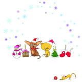 New Year's set, vector color illustrations, greeting card, elegant cats and dogs, Christmas tree, Christmas-tree decorations