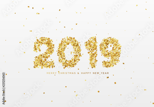 2019 New Year. Text from golden confetti, with bright sparkles. © lauritta