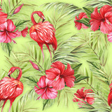 Seamless pattern with watercolor flamingo and hibiscus flowers.Watercolor illustration. - 231263222