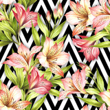 Seamless pattern with watercolor alstroemeria flowers on abstract white black geometric background. - 231263227