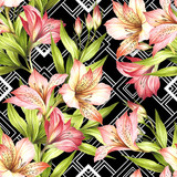 Seamless pattern with watercolor alstroemeria flowers on abstract white black geometric background. - 231263243