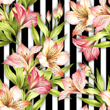 Seamless pattern with watercolor alstroemeria flowers on abstract white black geometric background. - 231263252
