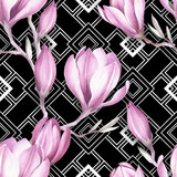 Seamless pattern with watercolor Magnolia flowers on abstract white black geometric background. - 231263262