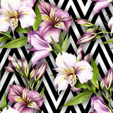 Seamless pattern with watercolor alstroemeria flowers on abstract white black geometric background. - 231263294