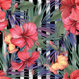 Seamless pattern with watercolor hibiscus flowers and exotic leaves on white black geometric background. - 231263412