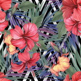 Seamless pattern with watercolor hibiscus flowers and exotic leaves on white black geometric background. - 231263428