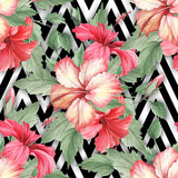 Seamless pattern with watercolor hibiscus flowers on abstract white black geometric background. - 231263444