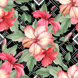 Seamless pattern with watercolor hibiscus flowers on abstract white black geometric background. - 231263452