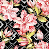 Seamless pattern with watercolor Azalea flowers on abstract white black geometric background.