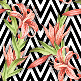 Seamless pattern with watercolor Tiger lily flowers on abstract white black geometric background. - 231263612