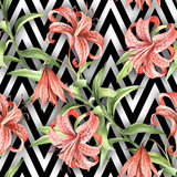 Seamless pattern with watercolor Tiger lily flowers on abstract white black geometric background. - 231263632