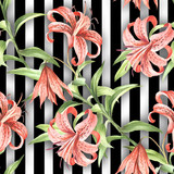 Seamless pattern with watercolor Tiger lily flowers on abstract white black geometric background. - 231263639