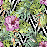Seamless pattern with watercolor exotic flowers and leaves on abstract white black geometric background. - 231263651