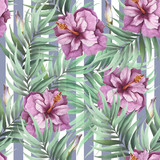 Seamless pattern with watercolor exotic flowers and leaves on abstract geometric background. - 231263678