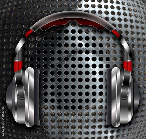 Realistic headphones with speaker.