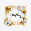Christmas bright background with golden decorations. Xmas greeting card. Happy New Year. Festive objects in the form of border gold gifts, bauble balls, shiny snowflake, old watches and tinsel