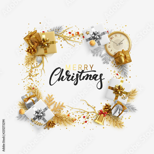 christmas bright background with golden decorations xmas greeting card happy new year festive