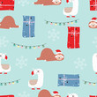Blue red hand drawn cute seamless pattern with sloth,llama,gift box,snowflake and light in Christmas