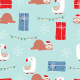 Blue red hand drawn cute seamless pattern with sloth,llama,gift box,snowflake and light in Christmas - 231276205