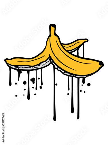 tropfen graffiti lustig boden müll ausrutschen rutschig witzig obst banane lecker gesund essen bananenschale krumm clipart cartoon comic design