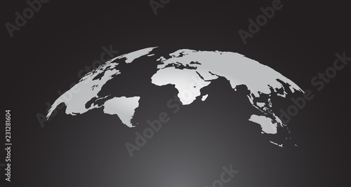 Curved World Map Vector, Globe Planet Concept Map For Website, Annual Report, Infographics, World Map Illustration, Vector Illustration