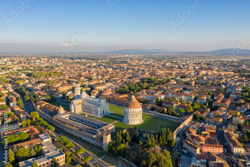 Leinwanddruck Bild Leaning Tower of Pisa and Cathedral - Aerial View