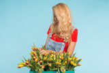 Floristics, holidays, flower shop and people concept - Beautiful blond young woman fixing bouquet of tulips on blue background. - 231291099