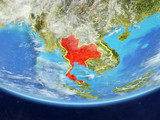 Thailand on realistic model of planet Earth with country borders and very detailed planet surface and clouds. - 231298099