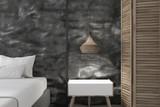 Bedside table in black crude bedroom - 231298240