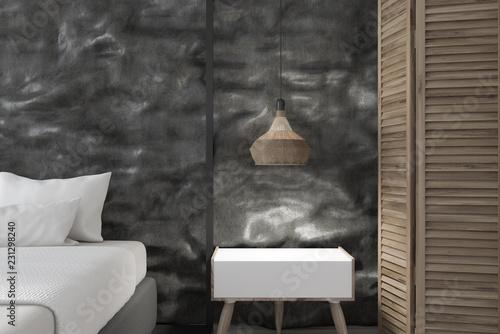 Leinwandbild Motiv Bedside table in black crude bedroom