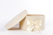 White round gift box with bow
