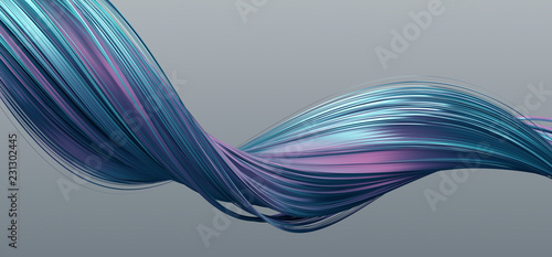 Abstract 3d rendering of twisted lines. Modern background design, illustration of a futuristic shape